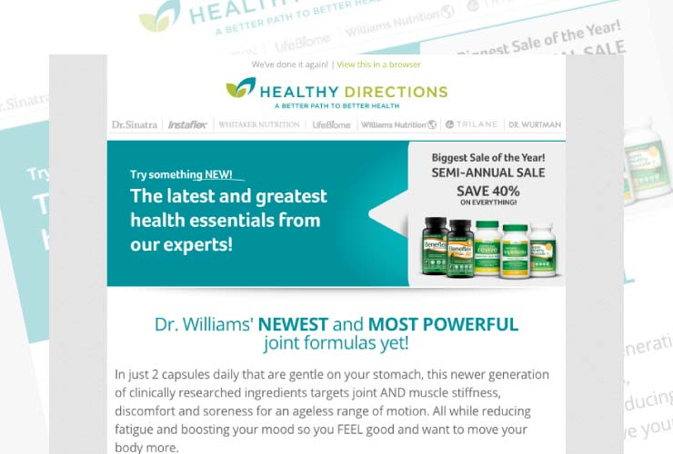 Healthy Directions new products sale email