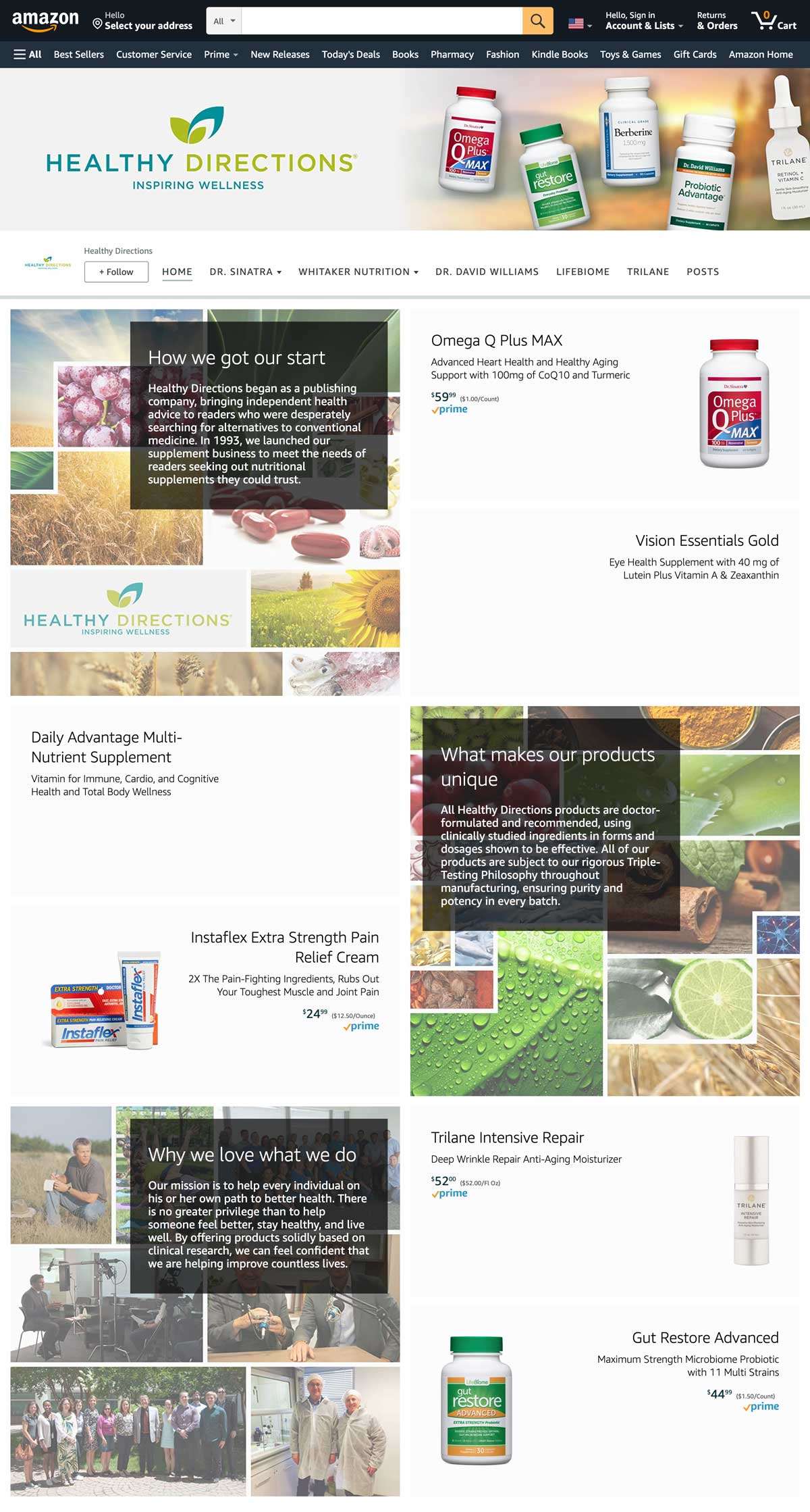 Healthy Directions Amazon storefront Home
