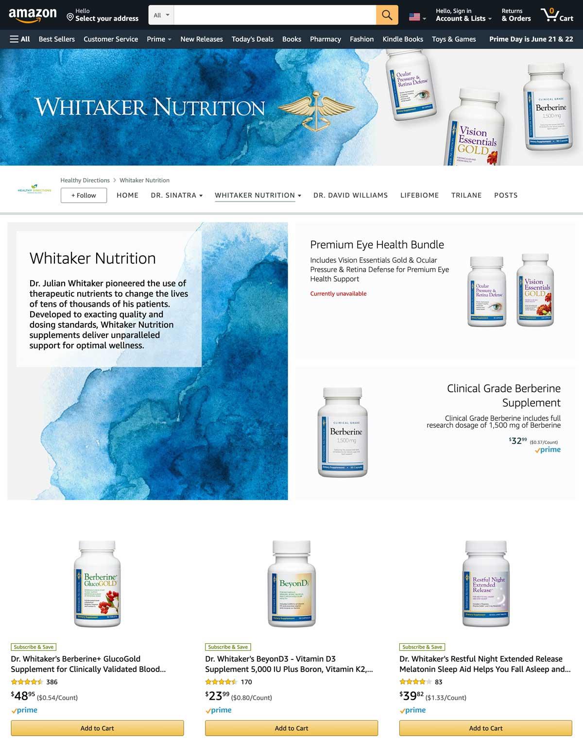 Whitaker Nutrition main Amazon storefront